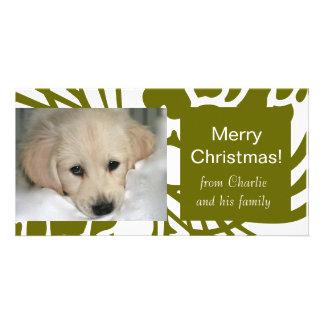 Cartões de foto de Natal brancos verdes elegantes Cartão Com Foto