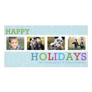 Cartões de foto de Natal chiques de Frost de 4 fot Cartões Com Fotos