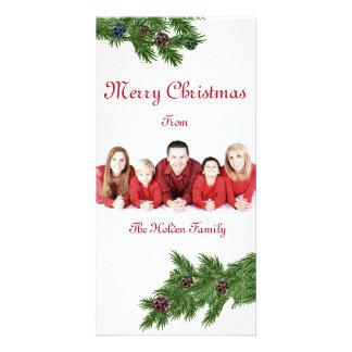 Cartões de foto de Natal com ramos de árvore da Cartão Com Foto