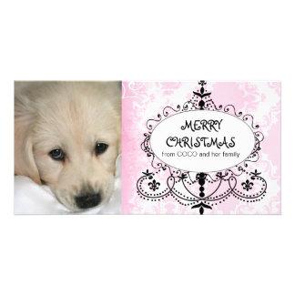 Cartões de foto de Natal cor-de-rosa do cão do Cartão Com Foto