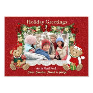 Cartões de foto de Natal do urso de ursinho Convites