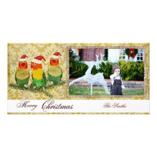 Cartões de foto de Natal dourados de três pássaros Cartoes Com Fotos Personalizados