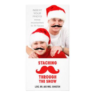 Cartões de foto de Natal engraçados do bigode Cartoes Com Fotos Personalizados