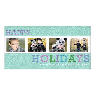 Cartões de foto de Natal Pastel chiques de 4 fotos Cartão Com Foto