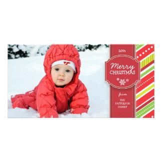 Cartões de foto de Natal vermelhos & verdes do div Cartão Com Foto Personalizado