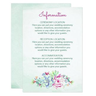 Cartões de informação do casamento do cacto da