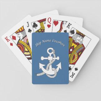 Cartões de jogo - âncora do navio com nome jogo de baralho