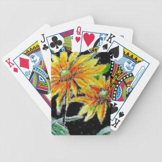 Cartões de jogo com arte do girassol carta de baralho