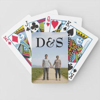 Cartões de jogo do modelo da foto do monograma baraloho de pôquer