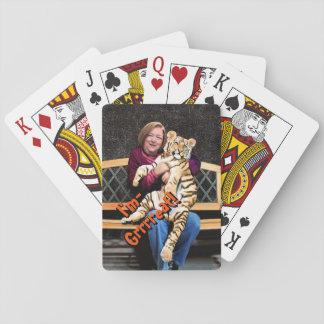 Cartões de jogo do tigre do rosa, caras padrão do jogo de carta