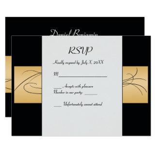 Cartões de Mitzvah RSVP do ouro e do bar do preto