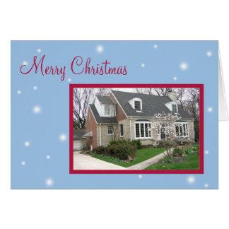 Cartões de natal azuis nevado do Natal da foto fei