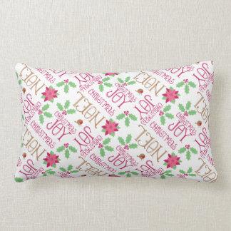 Cartões de natal cor-de-rosa e verdes e azevinho travesseiros