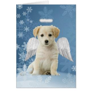 Cartões de Natal do filhote de cachorro do anjo