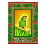 Cartões de Natal vermelhos do papagaio de Amazon L