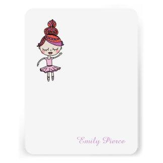 Cartões de nota cor-de-rosa da bailarina convite