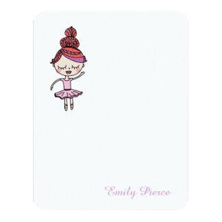 Cartões de nota cor-de-rosa da bailarina convite 10.79 x 13.97cm
