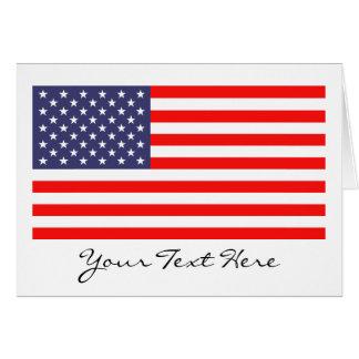 Cartões de nota da bandeira americana