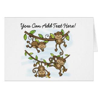Cartões de nota personalizados do brilho do macaco