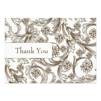 Cartões de papel do casamento do marrom do entalhe convite personalizado