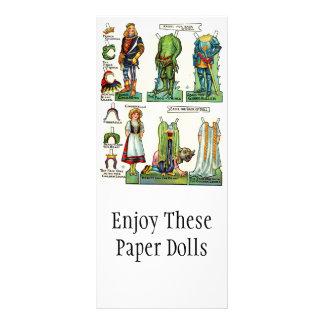 Cartões de papel do promocional da boneca do vinta 10.16 x 22.86cm panfleto