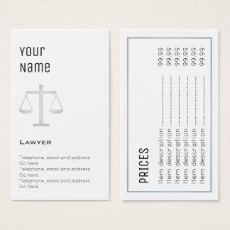 """Cartões de preço """"essenciais"""" do advogado"""