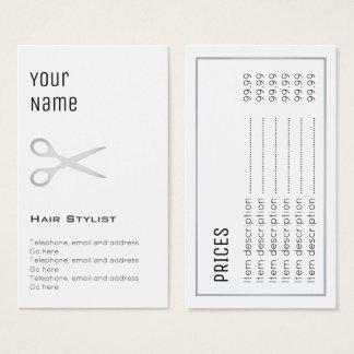 """Cartões de preço """"essenciais"""" do cabeleireiro"""