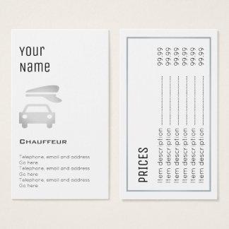 """Cartões de preço """"essenciais"""" do Chauffeur"""