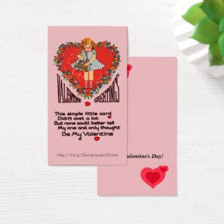 Cartão De Visitas Cartões de Vert da grinalda & da menina do coração