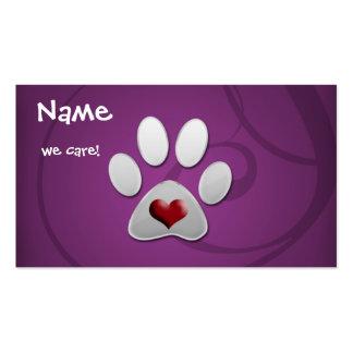 cartões de visitas animais roxos