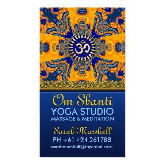Cartões de visitas azuis alaranjados da ioga do OM
