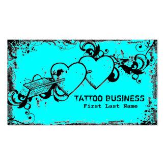 Cartões de visitas azuis do tatuagem dos corações