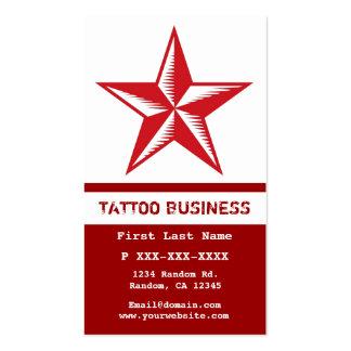Cartões de visitas brancos vermelhos do tatuagem