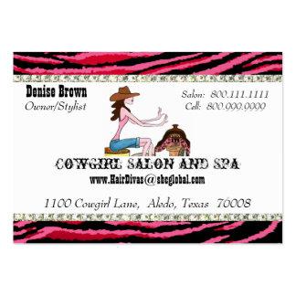 Cartões de visitas carnudos da vaqueira do salão d