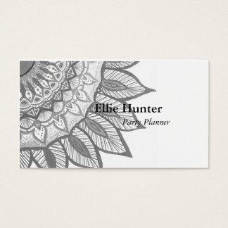 Cartões de visitas cinzentos do costume da flor da