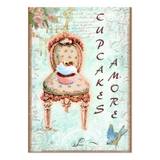 Cartões de visitas cor-de-rosa do cupcake & dos ro