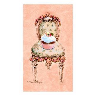 Cartões de visitas da cadeira do cupcake e do Vict