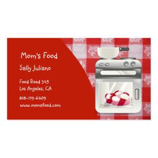 Cartões de visitas da comida da mãe