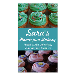 Cartões de visitas da foto da padaria do cupcake
