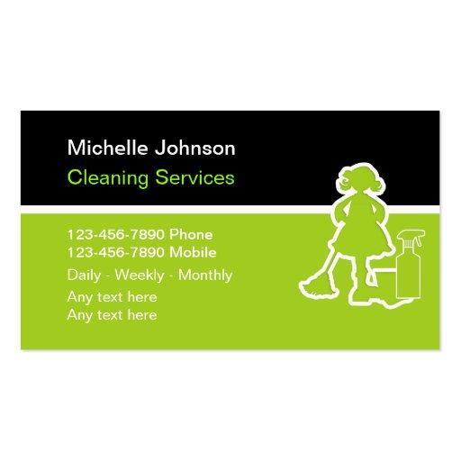 Cartões de visitas da limpeza