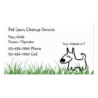 Cartões de visitas da limpeza do gramado do cão