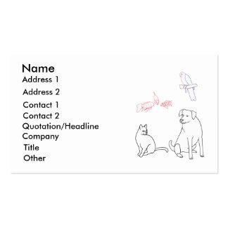 Cartões de visitas de assento do animal de estimaç