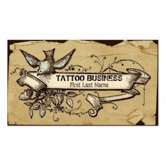 Cartões de visitas desarrumado do tatuagem do