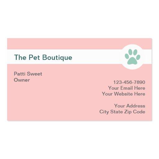 Cartões de visitas do boutique do animal de estima