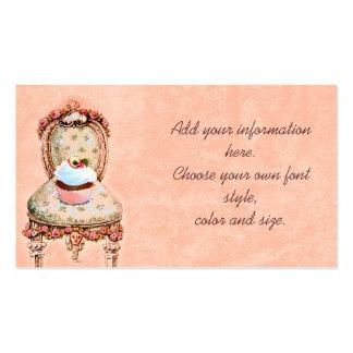 Cartões de visitas do cupcake e dos rosas