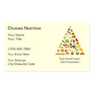 Cartões de visitas do nutricionista