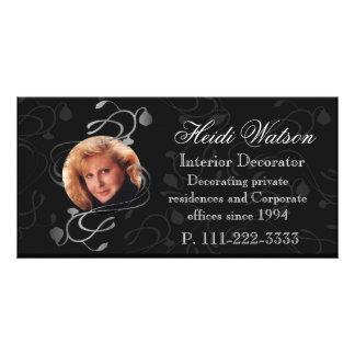 Cartões de visitas elegantes preto e branco da fot cartão com foto