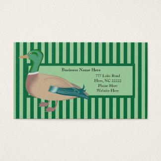 Cartões de visitas listrados verdes do pato