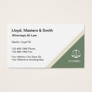 Cartões de visitas modernos do advogado