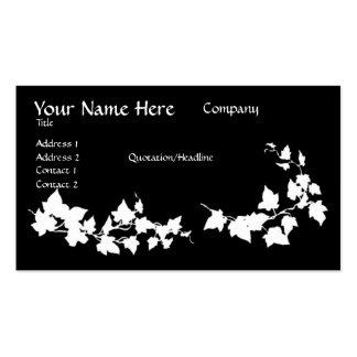 Cartões de visitas pretos & brancos da hera